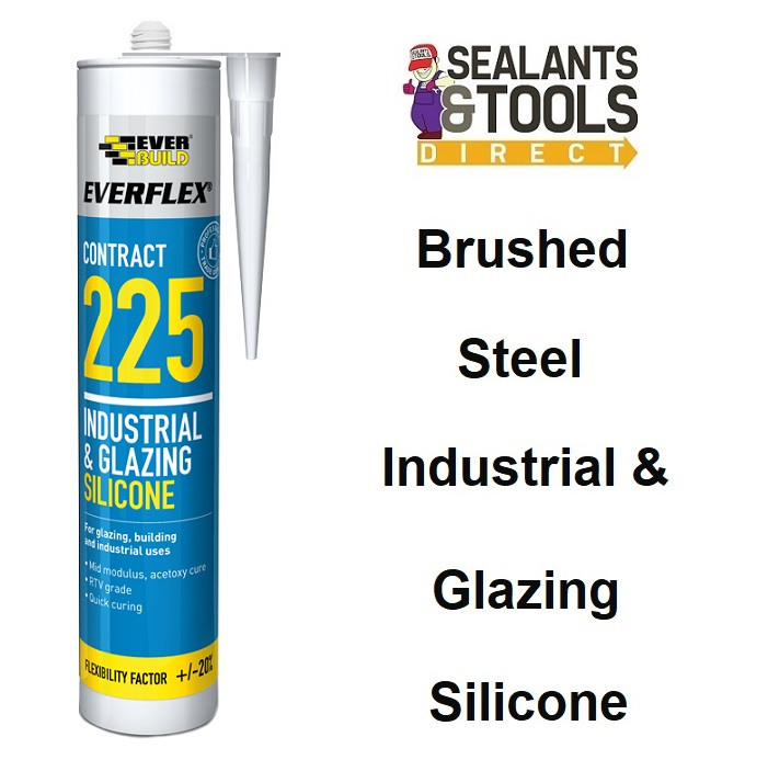 Everbuild 225 Brushed Steel Industrial Silicone Sealant 225STEEL