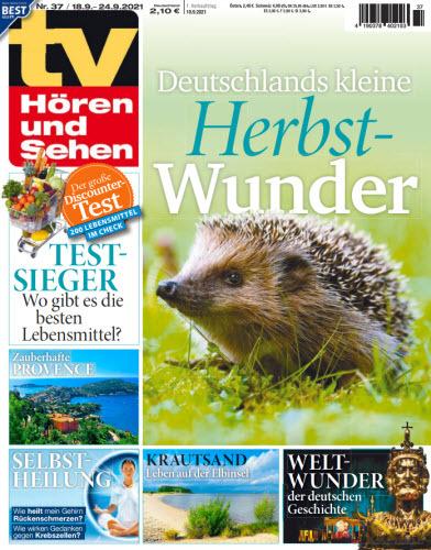 Cover: Tv Hören und Sehen Magazin No 37 vom 10  September 2021