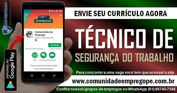TÉCNICO DE SEGURANÇA DO TRABALHO PARA EMPRESA DE GRANDE PORTE EM PAULISTA