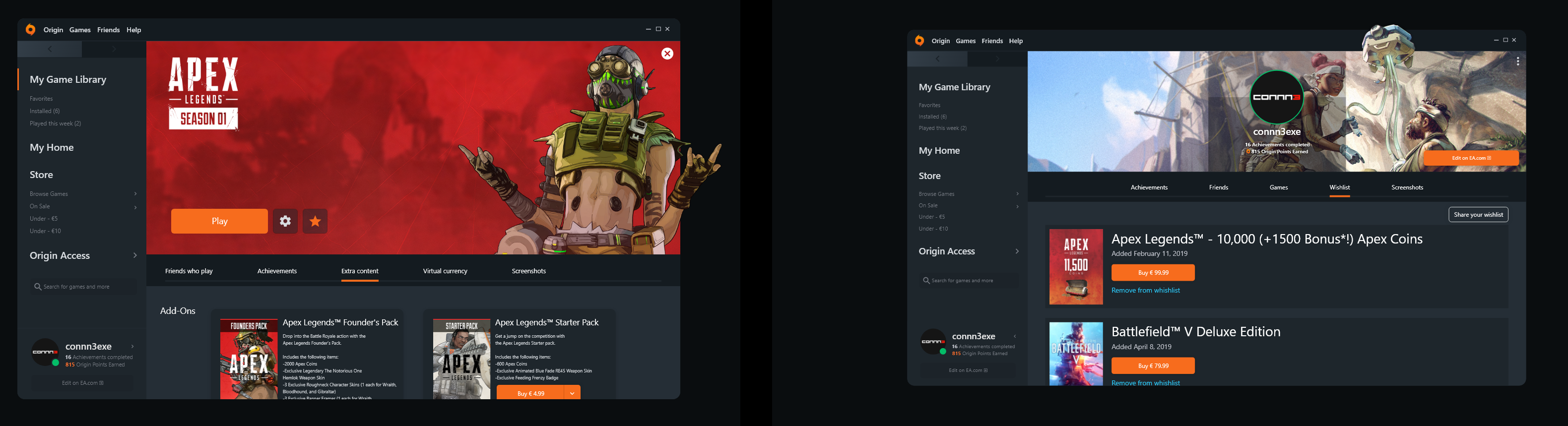 Hey guys, I redesigned Apex page and Origin Client, what do