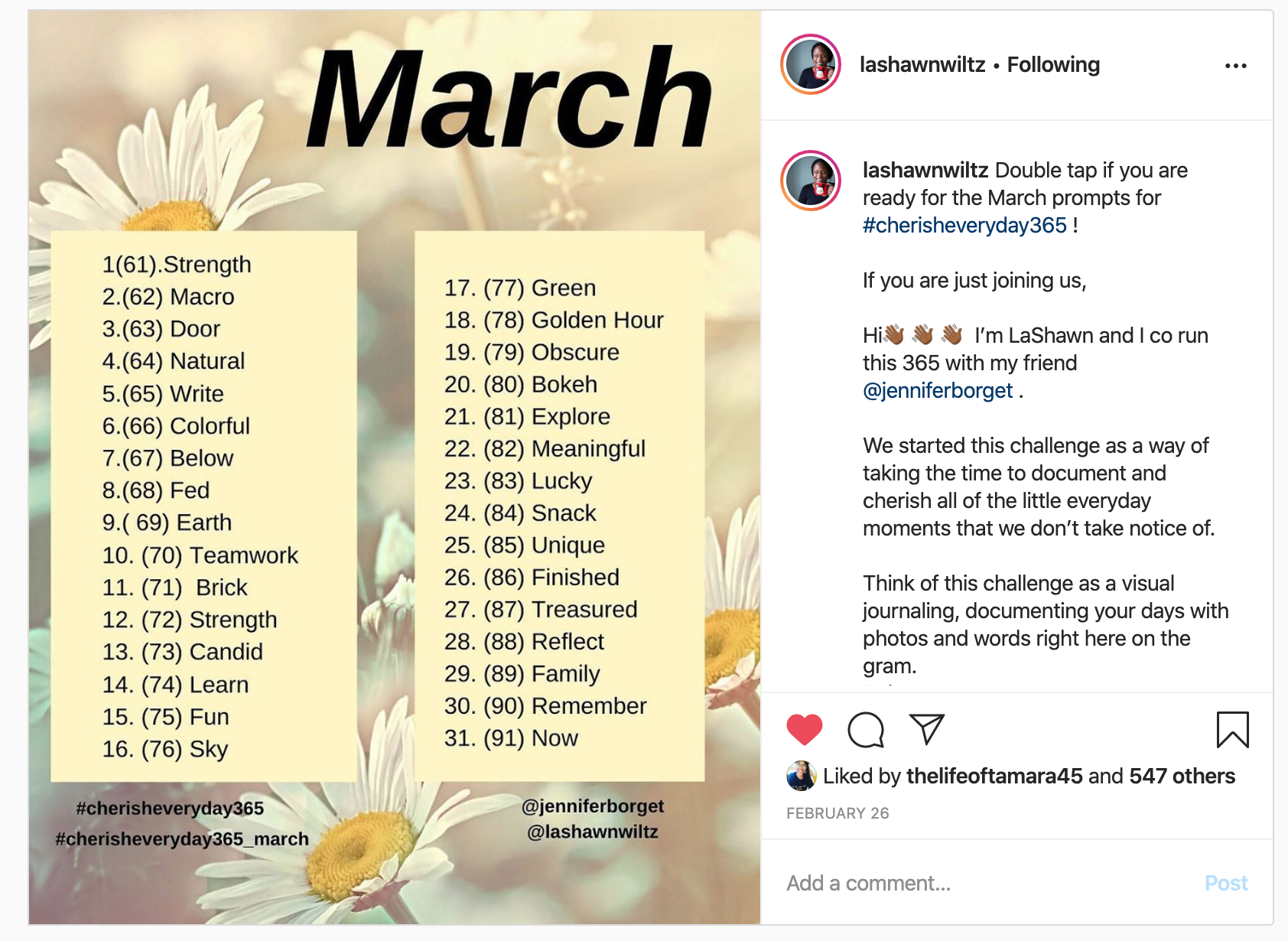 March prompts for #cherisheveryday365