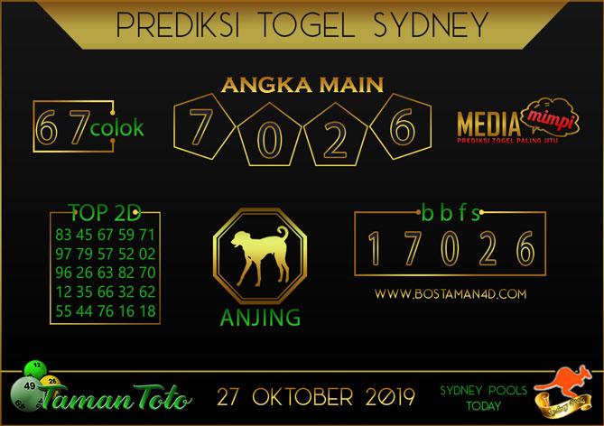Prediksi Togel SYDNEY TAMAN TOTO 27 OKTOBER 2019
