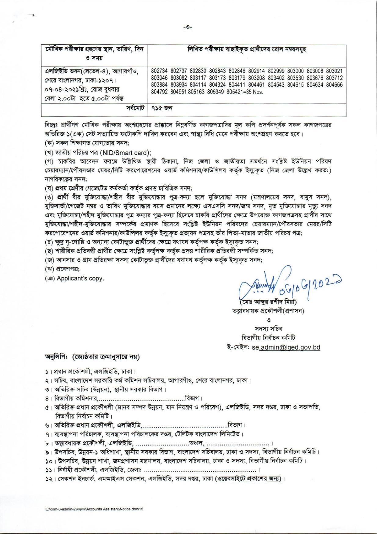 LGED Exam Result 2021