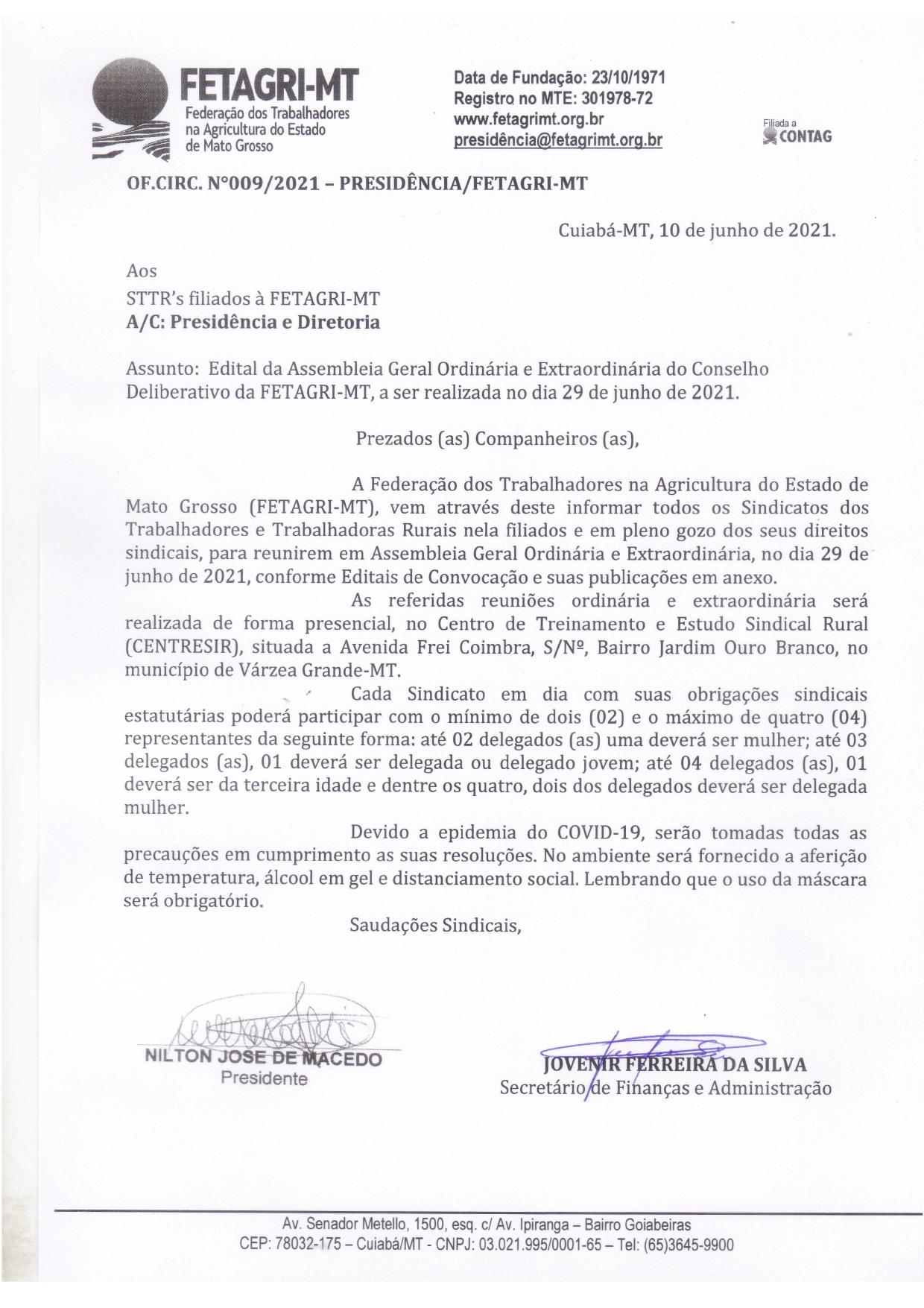 OFÍCIO CIRCULAR 009/2021 - PRESIDÊNCIA/FETAGRI-MT