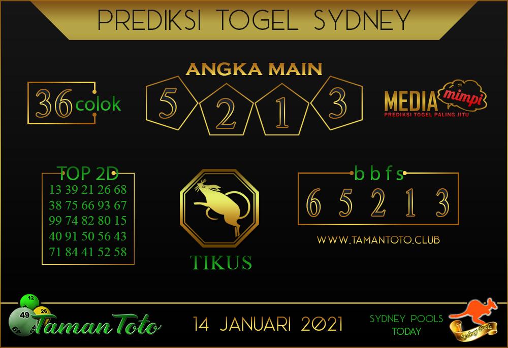 Prediksi Togel SYDNEY TAMAN TOTO 14 JANUARI 2021