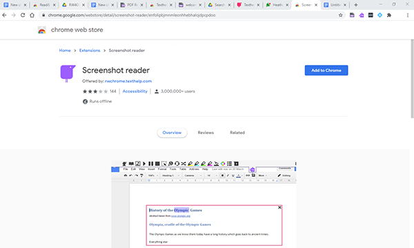 Google Chrome Store browser window for the Screenshot reader extension, with the 'add to chrome' button highlighted in the right hand corner of screen.