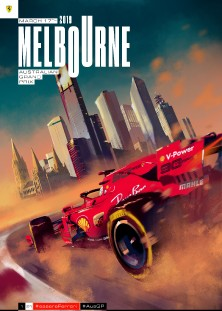 AUSTRALIA 2019 F1 FERRARI GRAND PRIX COVER ART RACE POSTER