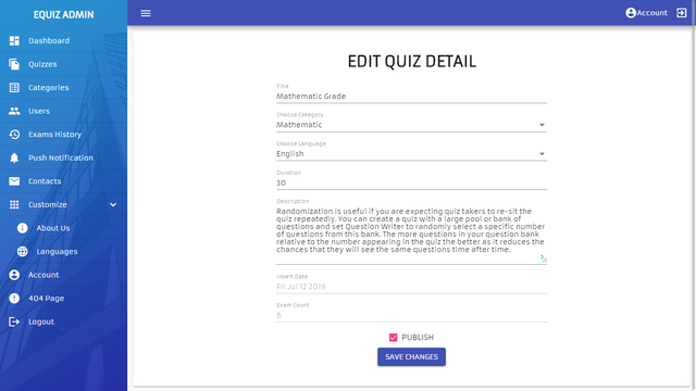 EQuiz quiz Application ionic 4 angular 8