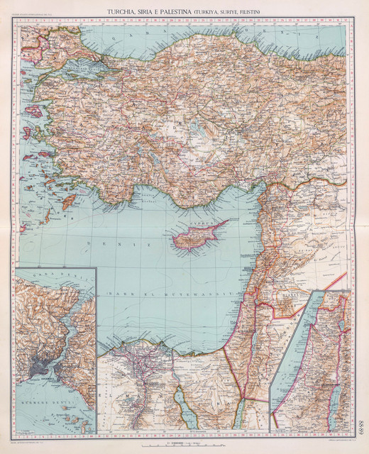 Italian map of Turkey, Syria and Palestine from 1929