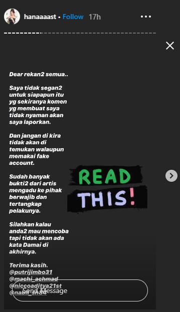 Unggahan story Instagram Hana Hanifah. (Instagram @hanaaaast)