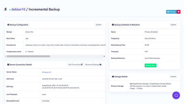 Preview Backup Configuration