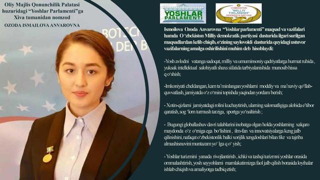 """Ismoilova Ozoda Respublika """"Yoshlar parlamenti""""ga a'zo qilib saylandi"""