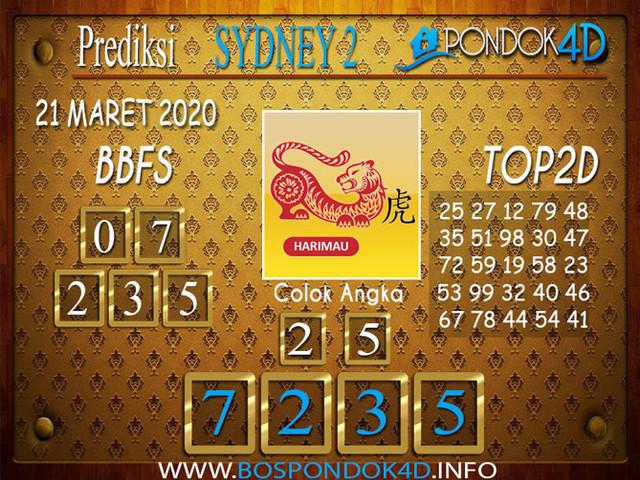 Prediksi Togel SYDNEY 2 PONDOK4D 21 MARET 2020