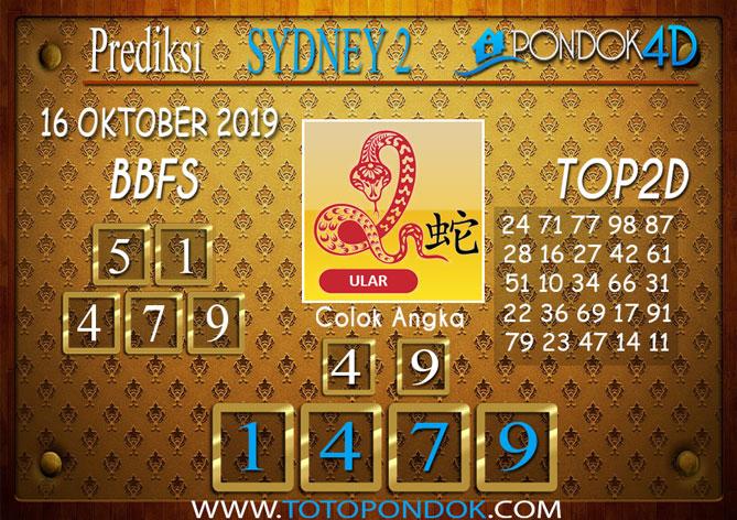Prediksi Togel SYDNEY 2 PONDOK4D 16 OKTOBER 2019