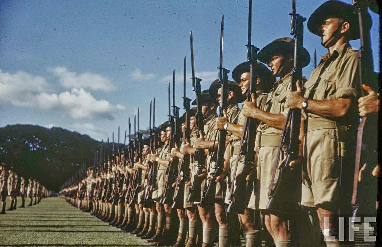 Preparing the British for the Battle of Singapore. Photo in color