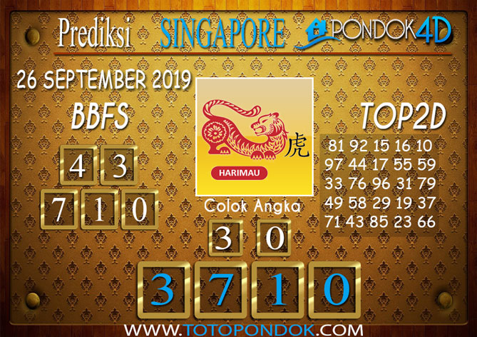 Prediksi Togel SINGAPORE PONDOK4D 26 SEPTEMBER 2019