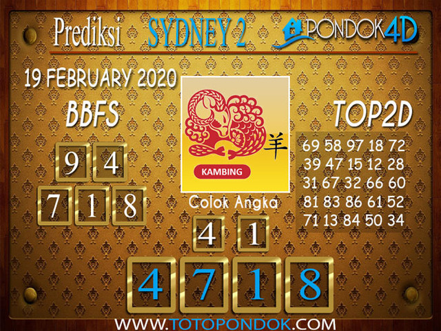 Prediksi Togel SYDNEY 2 PONDOK4D 19 FEBRUARY 2020