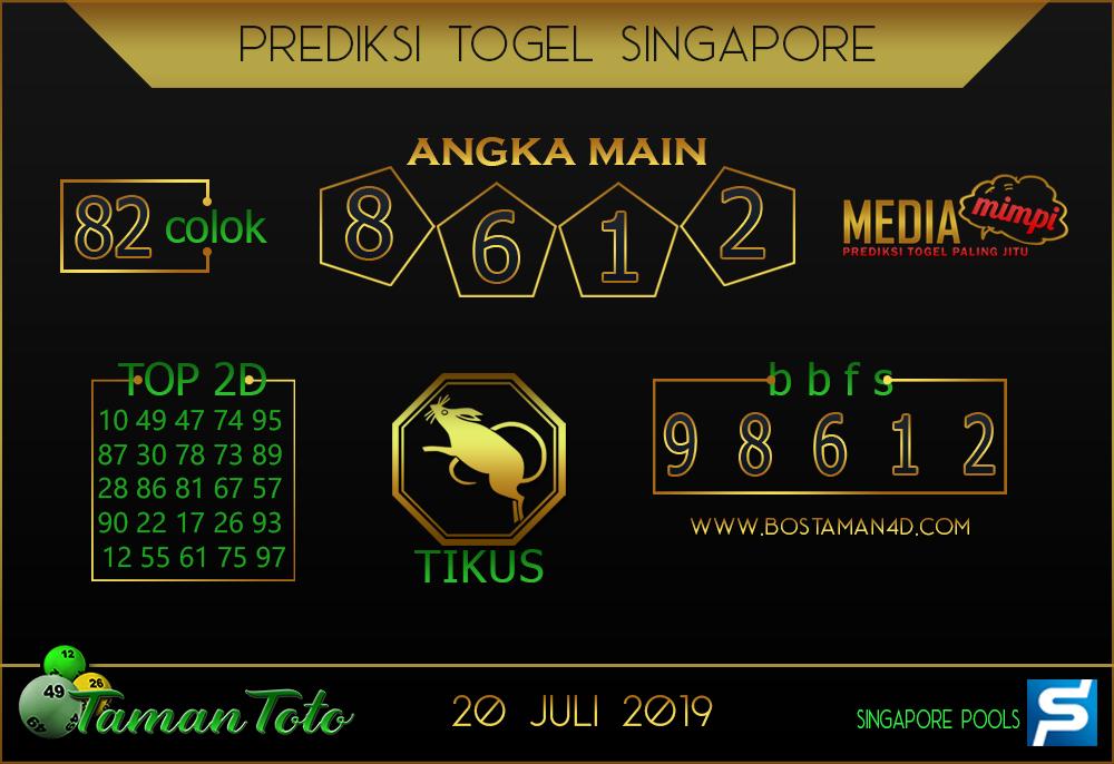 Prediksi Togel SINGAPORE TAMAN TOTO 20 JULI 2019