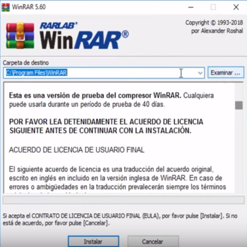 Instalador de WinRAR de 64 bits FULL.