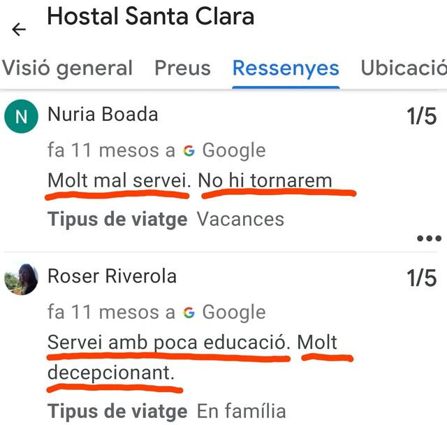Hostal-Santa-Vlara-Estartit-mal-servei