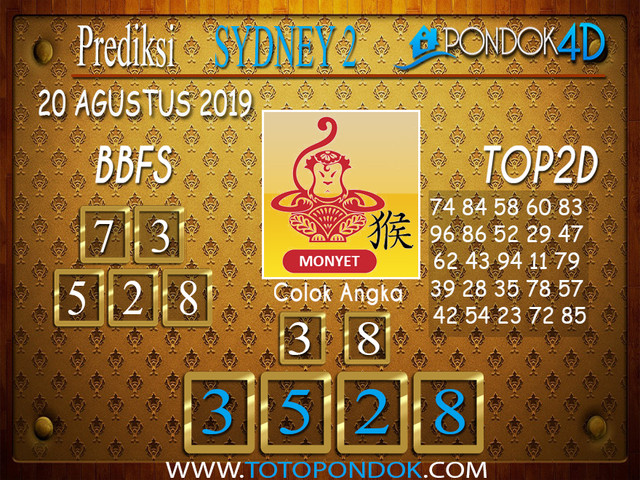 Prediksi Togel SYDNEY 2 PONDOK4D 20 AGUSTUS 2019