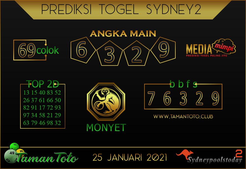 Prediksi Togel SYDNEY 2 TAMAN TOTO 25 JANUARI 2021