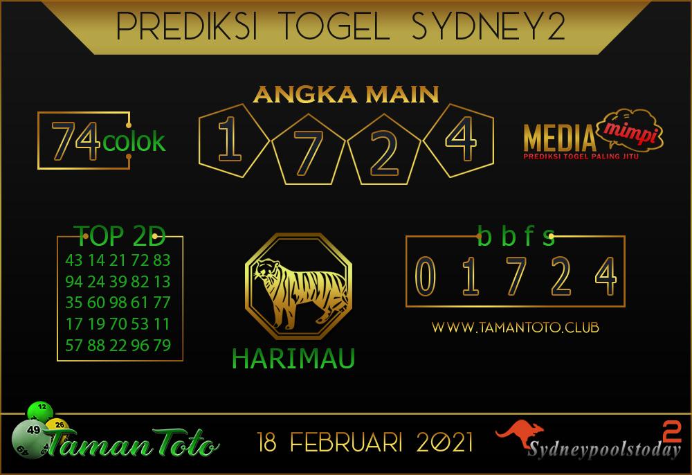 Prediksi Togel SYDNEY 2 TAMAN TOTO 18 FEBRUARI 2021