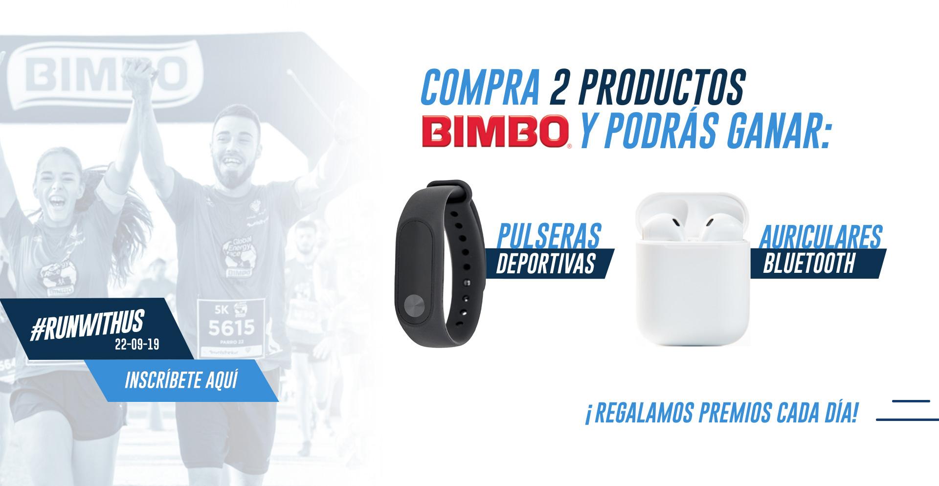 Compra 2 productos Bimbo y podrás ganar pulseras deportivas y auriculares bluetooth