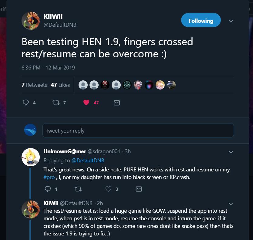 السلام عليكم ورحمة الله وبركاته Been testing HEN 1.9, fingers crossed rest/resume can be overcome :).