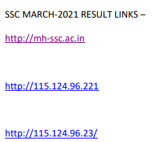 Maharashtra SSC Result 2021 Link