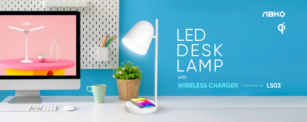 lampa de birou cu incarcare wireless