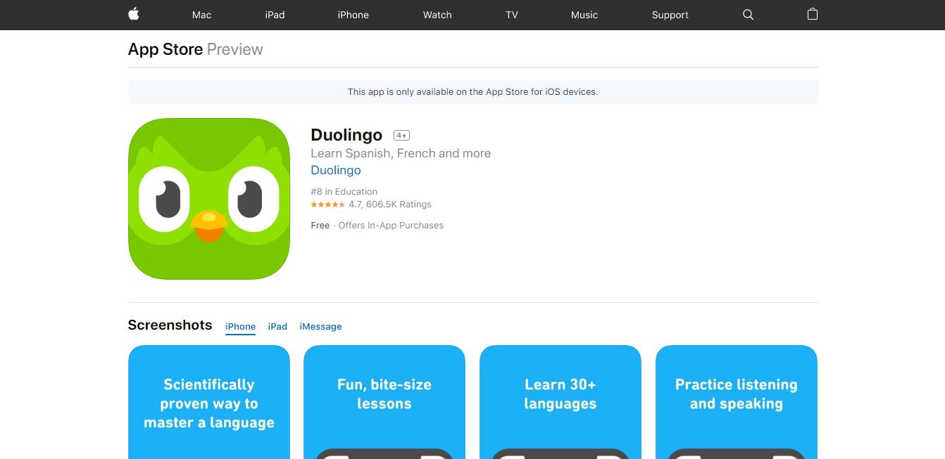 Aquí encontrarás la app de Duolingo gratis para el iOS.
