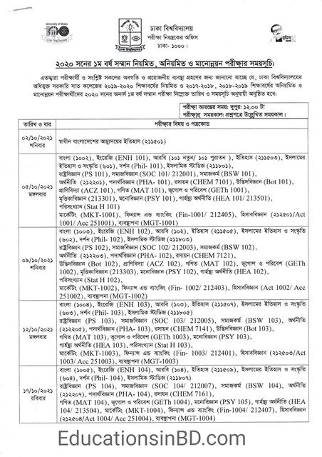 DU 7 College Honours 1st Year Exam Routine 2021