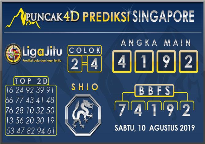 PREDIKSI TOGEL SINGAPORE PUNCAK4D 10 AGUSTUS 2019