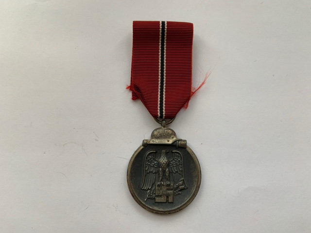 """Eastern Front Medal. The medal was wryly called the Frozen Meat Medal or the """"Order of the Frozen Flesh"""" by Heer, Luftwaffe and Waffen-SS personnel to whom it was awarded. Photo by Apolon."""