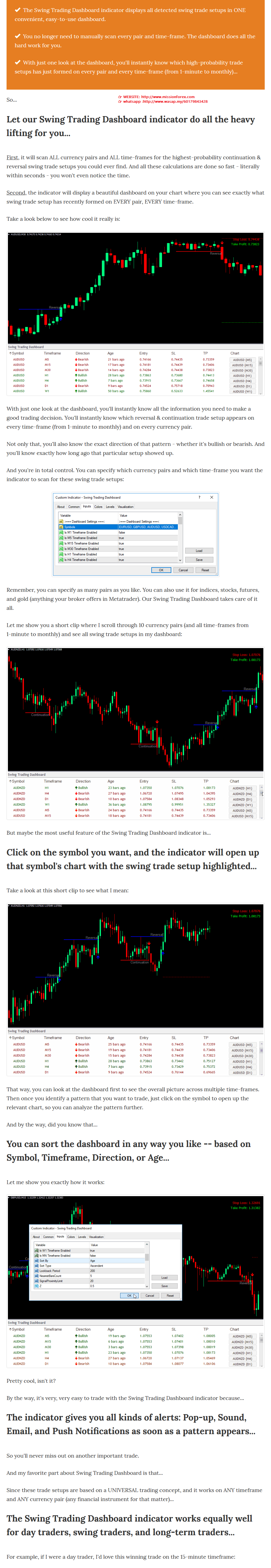 Swing Trading Dashboard forex Indicator get the Highest-Probability Swing Trade Opportunities