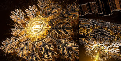 Snowflake Opener 3D/ Gold Metal Intro/ Syfy Winter/ High Technology Snow Intro/ HUD Logo/ New Year 20969334 - Project for After Effects (Videohive)