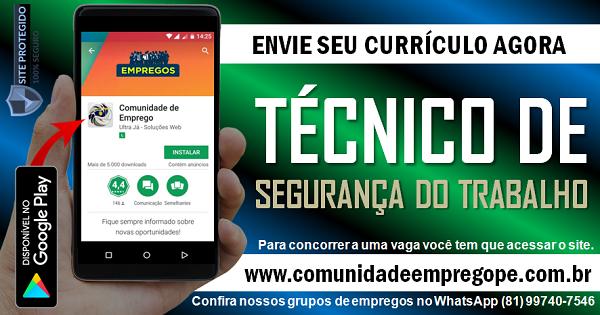 TÉCNICO DE SEGURANÇA DO TRABALHO COM SALÁRIO DE R$ 1800,00