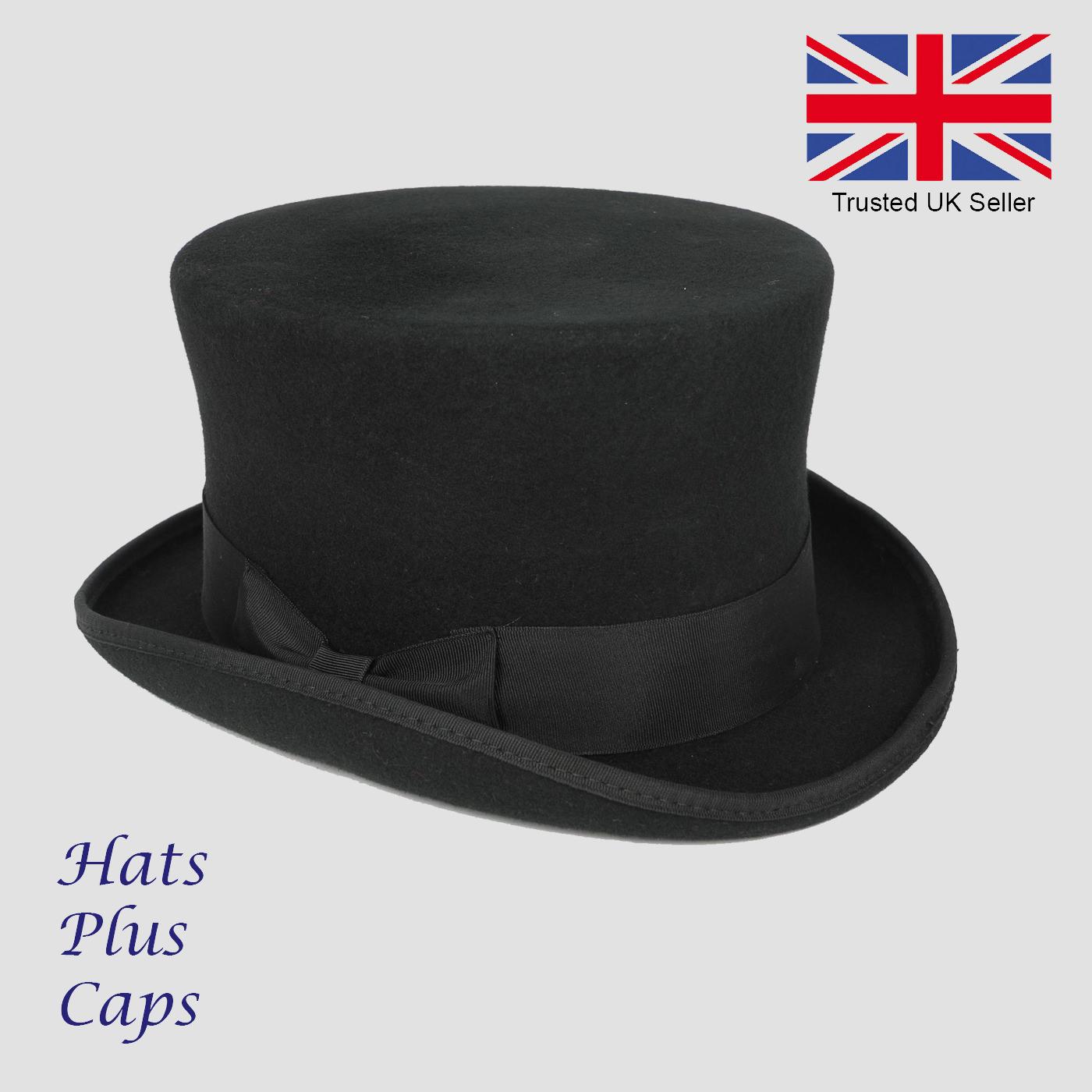 Ladies Black UK New Quality Handmade 100/% Wool Top Hat