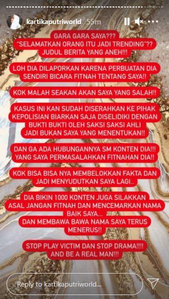 Unggahan Instagram Story Kartika Putri, Sabtu (6/2/2021)