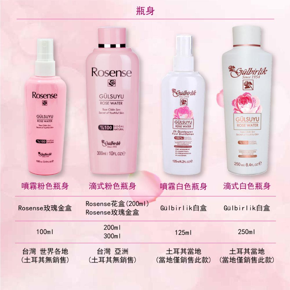 Rosense玫瑰純露化妝水瓶身的差異。