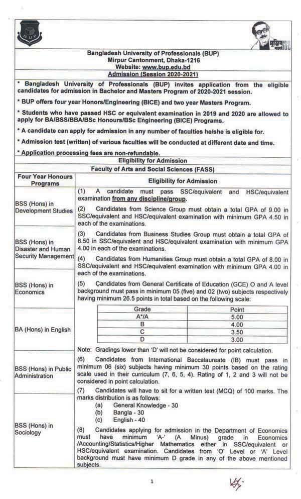 BUP Admission Result 2021- www.bup.edu.bd Result PDF 1