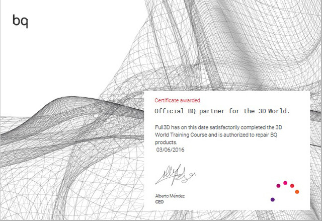 Certificado bq F3 D