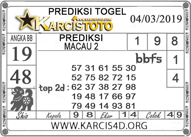 Prediksi Togel MACAU 2 KARCISTOTO 04 MARET 2019