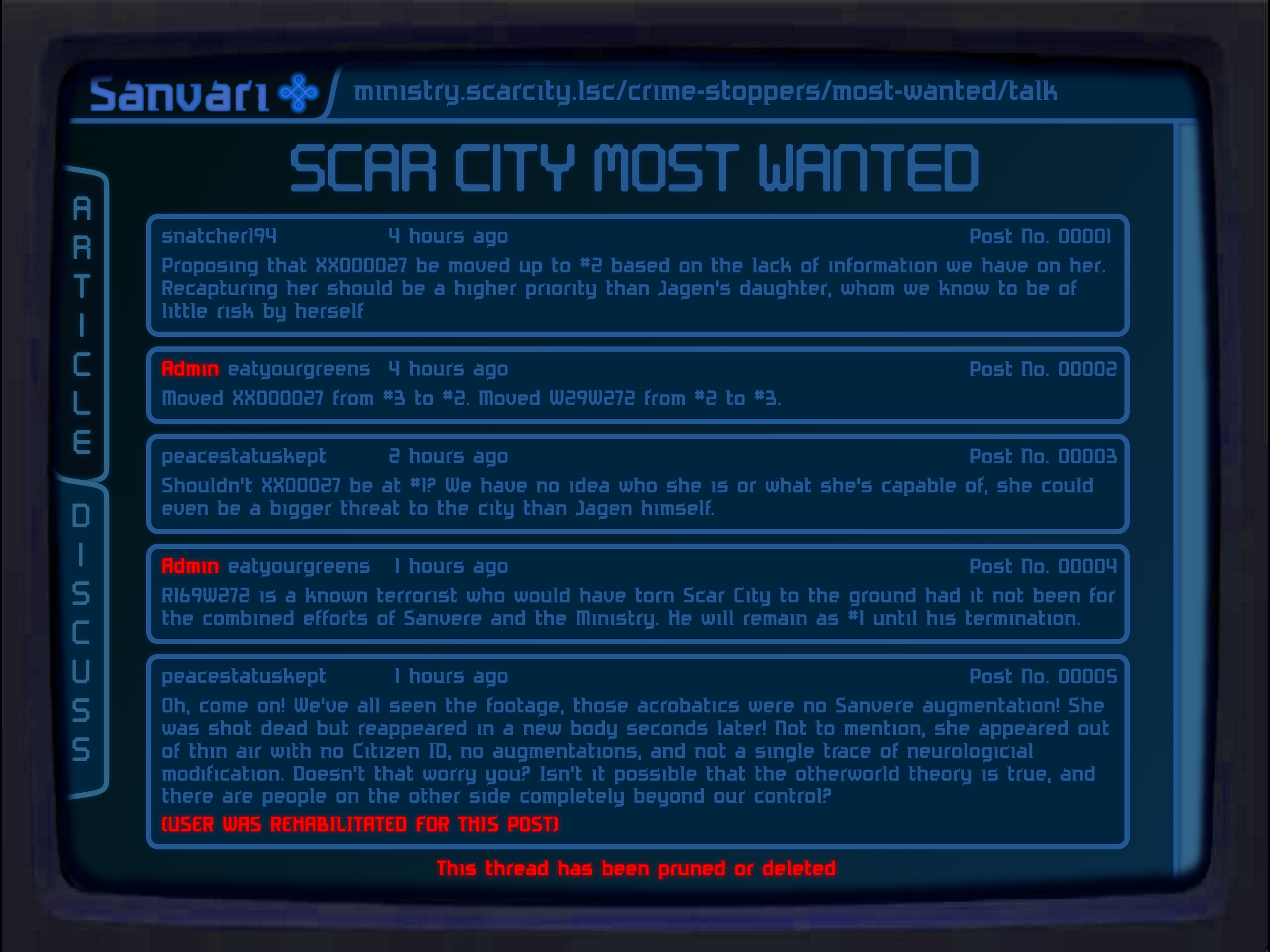 Scar City's Most Wanted Talk Page