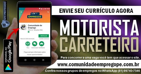 MOTORISTA CARRETEIRO COM SALÁRIO R$ 2103,64 PARA EMPRESA DE TRANSPORTES EM ITAPISSUMA