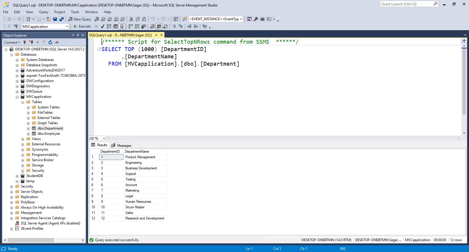 DropDownList from DataBase fields