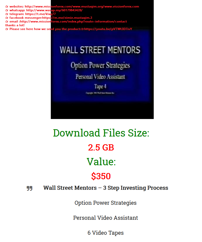 Wall Street Mentors 3 Step Investing Process ((SEE 2 MORE Unbelievable BONUS INSIDE!! William Greenspan Day Trading Made Simple)