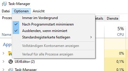 """So sollte das """"Optionen""""-Menü im Task-Manager aussehen"""