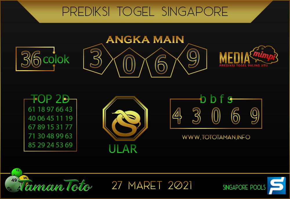 Prediksi Togel SINGAPORE TAMAN TOTO 27 MARET 2021
